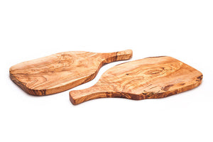 'Rizes Crete' Wood Cutting Board in Racket Shape from Original Olive Wood - 35cm