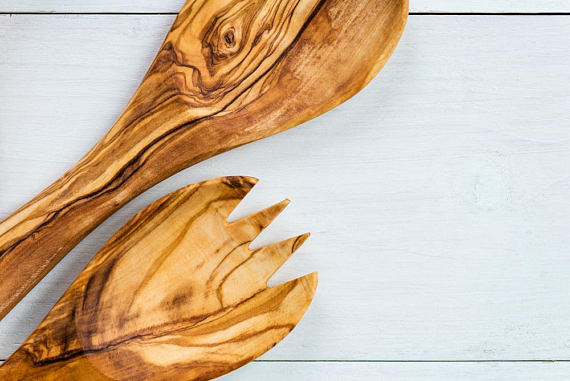 'Rizes Crete' Salad Set Spoon from Original Olive Wood -  30cm