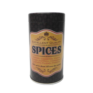 'Retro' Spices Round Metal Storage Tin