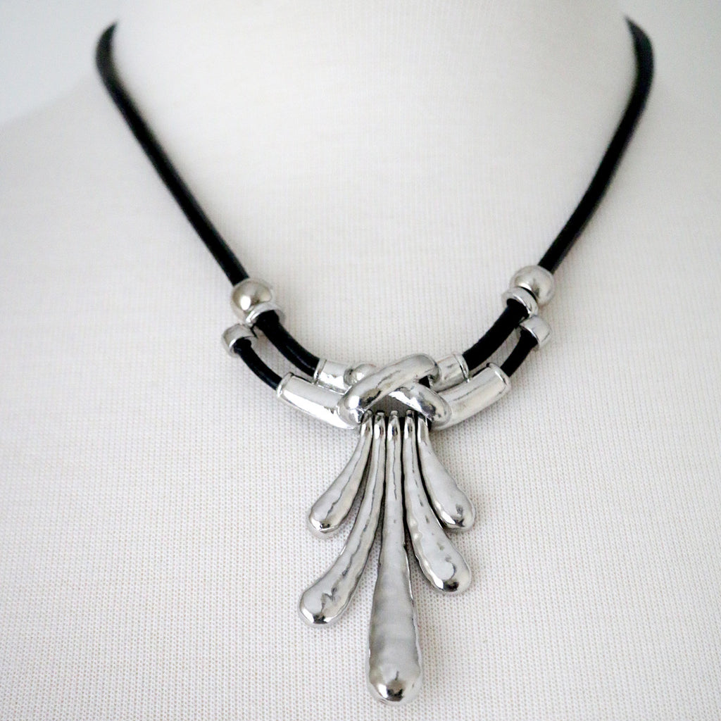 Chunky abstract metal pendant necklace