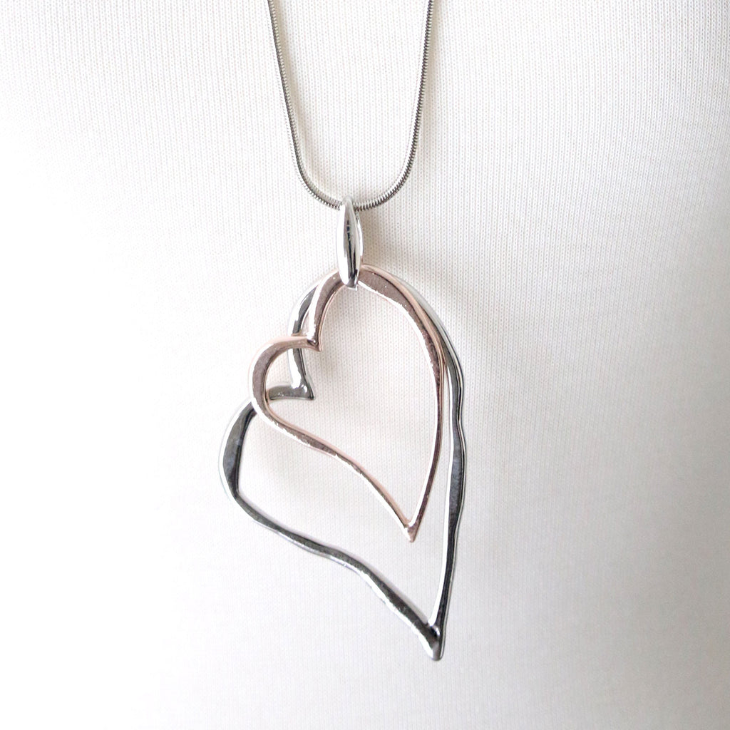 Two-tone double heart necklace