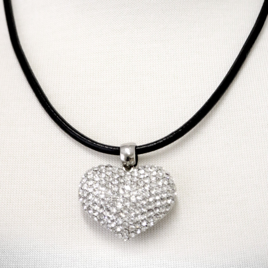 Crystal set large heart on thick black cord necklace