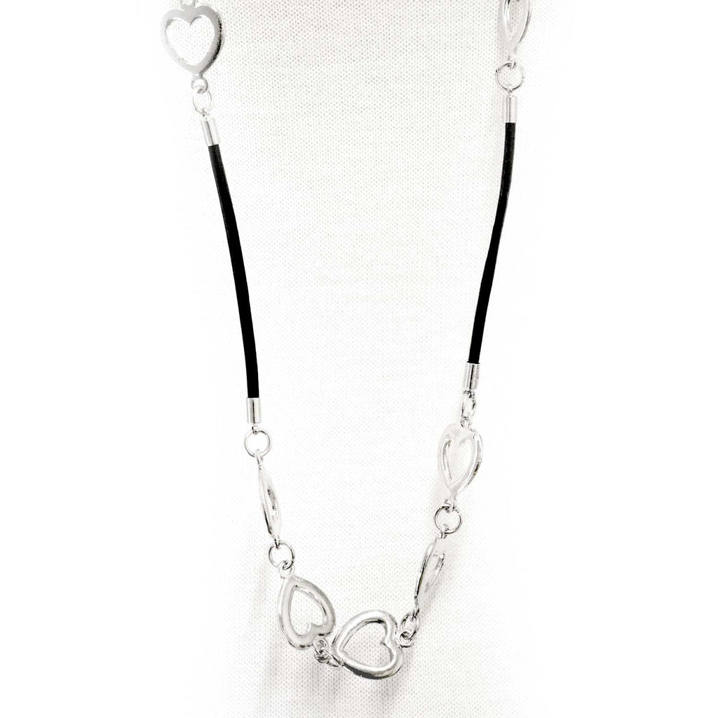 Designer inspired necklace with metal hearts