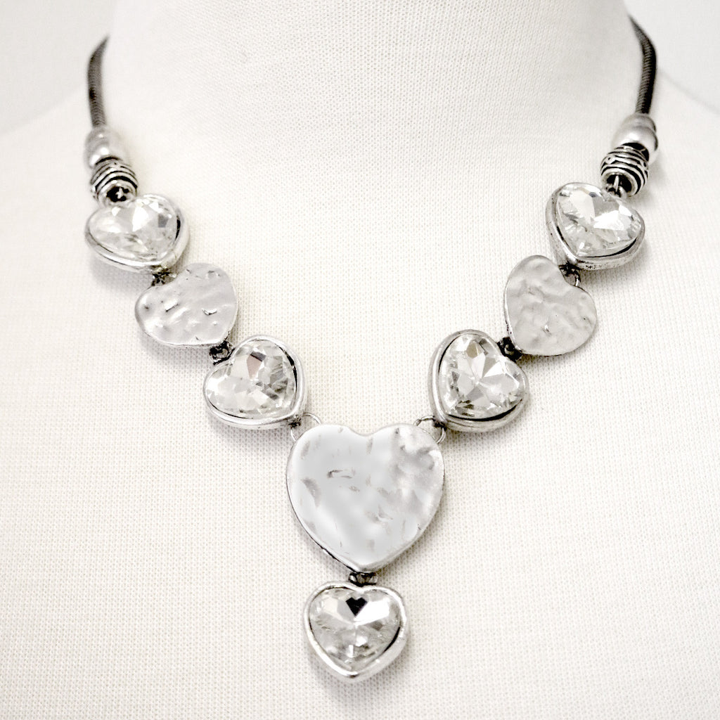 Beaten hearts with facet hearts necklace