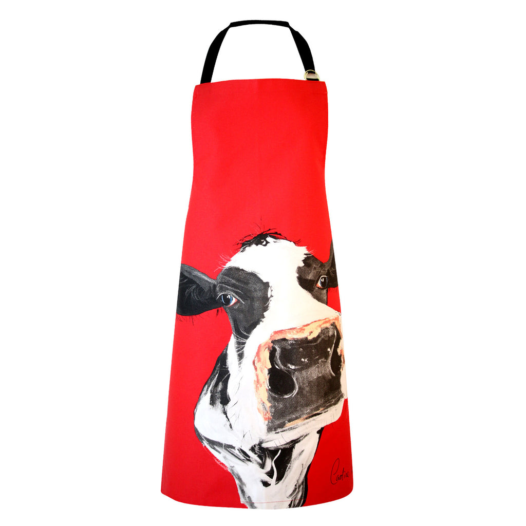 Honey Cow Red Apron by Caroline Walker