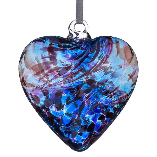 Friendship hand crafted  glass heart Purple and Blue by Sienna Glass