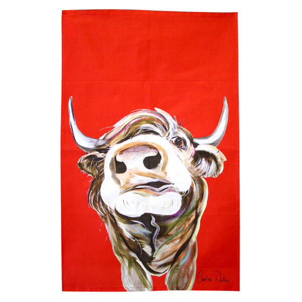Bruce Highland Cow Tea Towel by Caroline Walker
