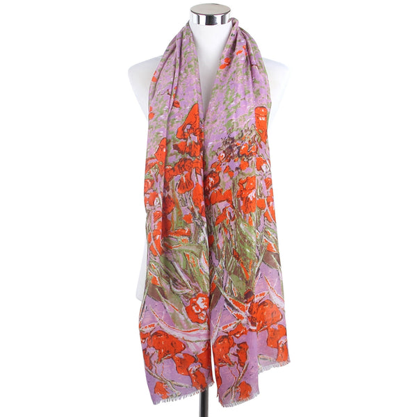 Abstract Daffodil Print Frayed Scarf Lilac & Orange