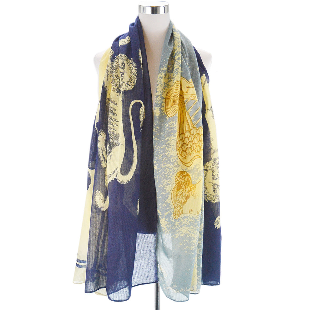 Angel, Harp & lions print scarf Blue & Gold