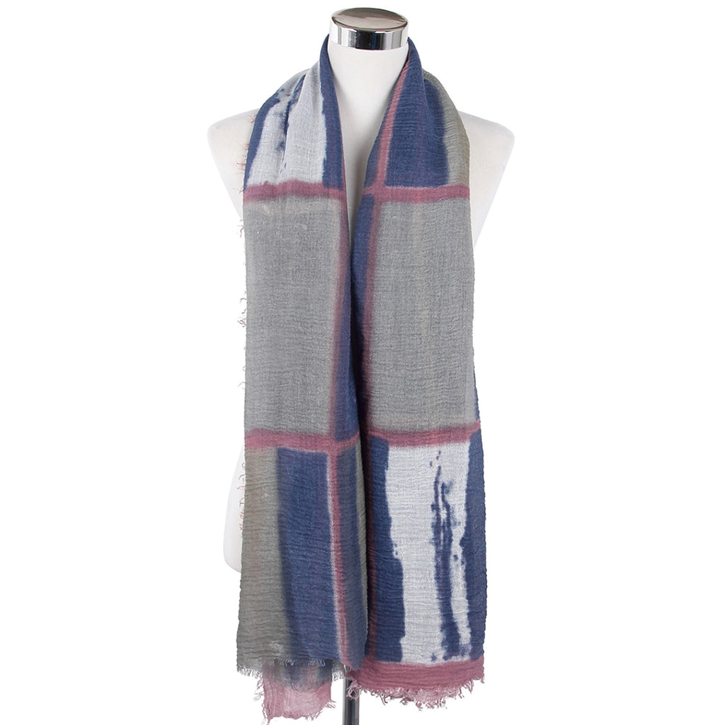 Tie Effect Effect Print Scarf Grey & Purple