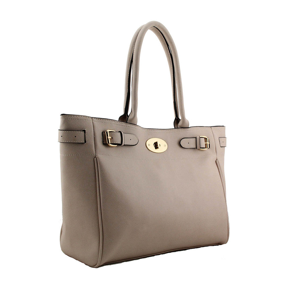 Designer inspired shoulder bag in Beige