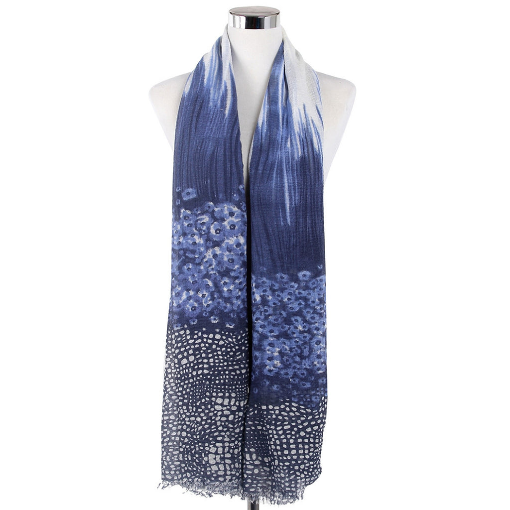 Small Blurry Flower Print Frayed Navy Scarf
