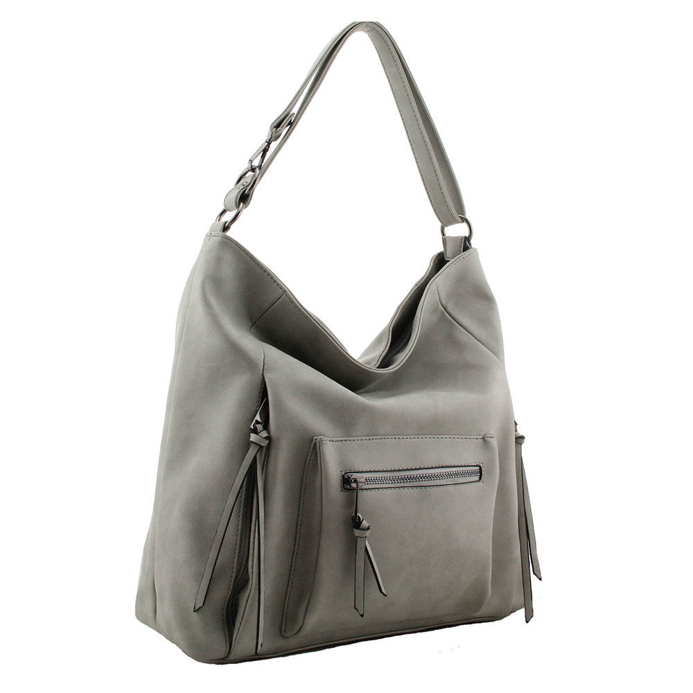 Shoulder Bag with Front Metal Zip Pockets in grey