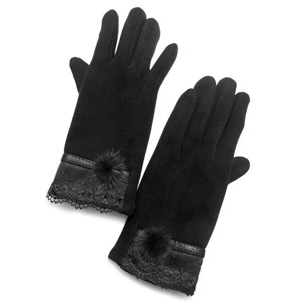Lace edge & angora pom pom gloves black soft touch