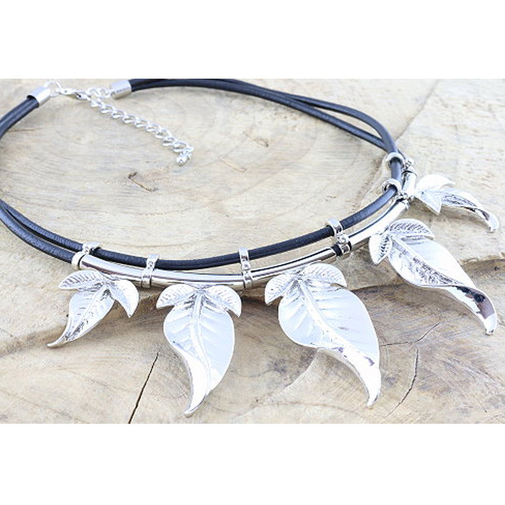 Heavy metal leaf necklace