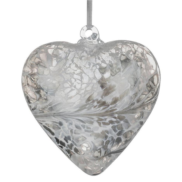 Friendship hand crafted glass silver hanging heart by Sienna glass