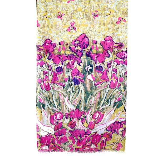 Abstract Daffodil Print Frayed Green & Purple Scarf