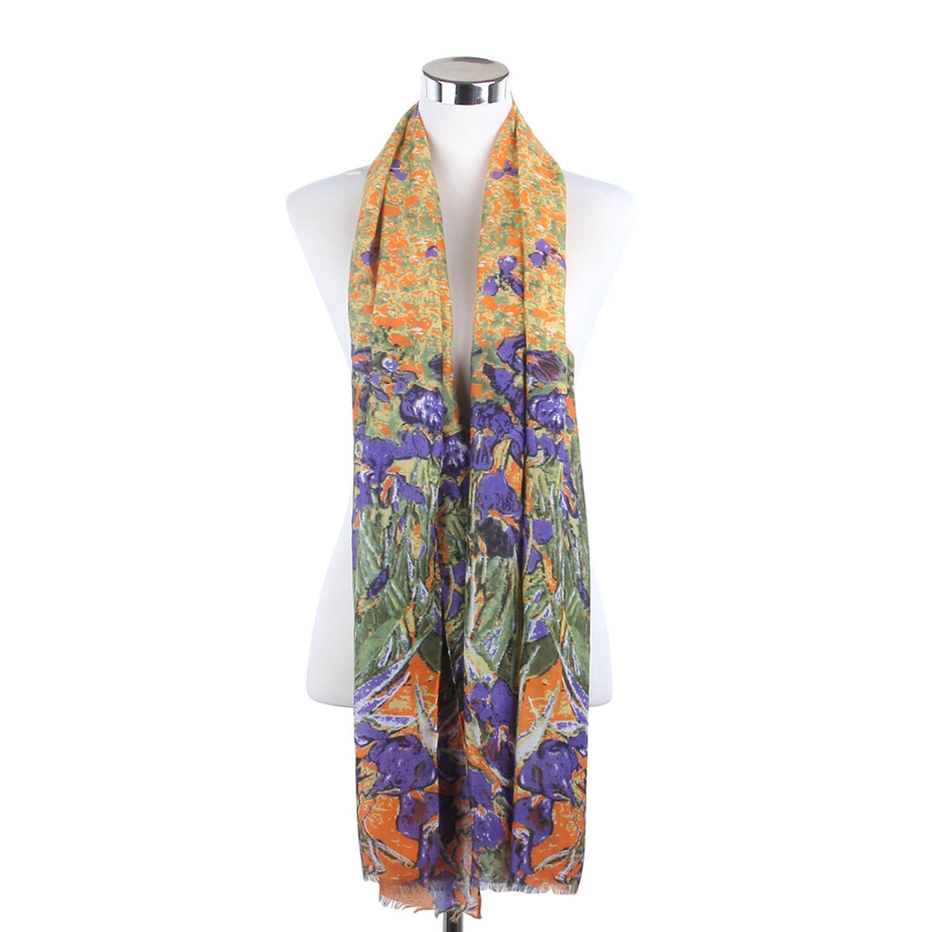 Abstract Daffodil Field Print Frayed Scarf Violet & Orange
