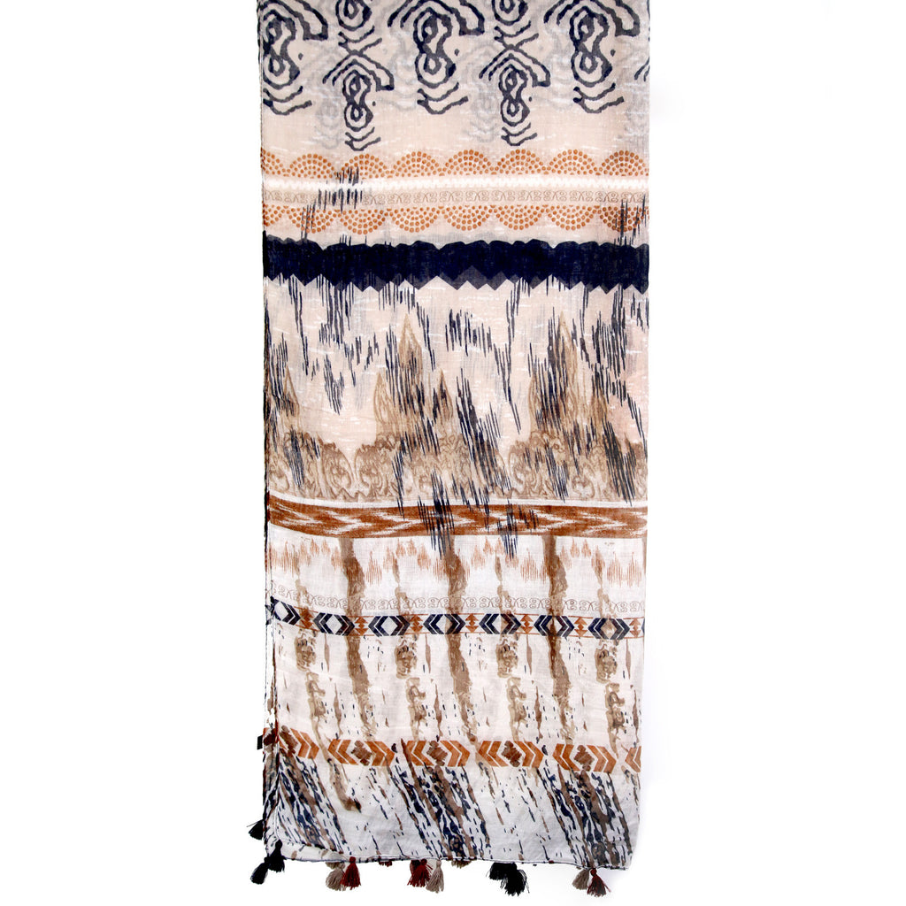 Abstract Multi Pattern Brown Scarf