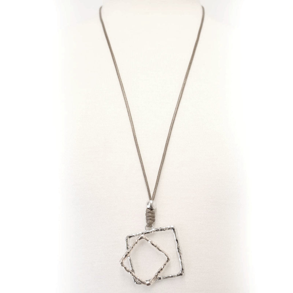 Abstract two tone pendant necklace