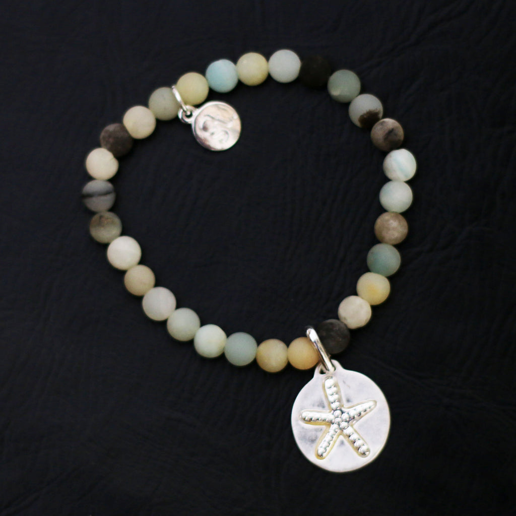Amazonite beaded bracelet with starfish disc.