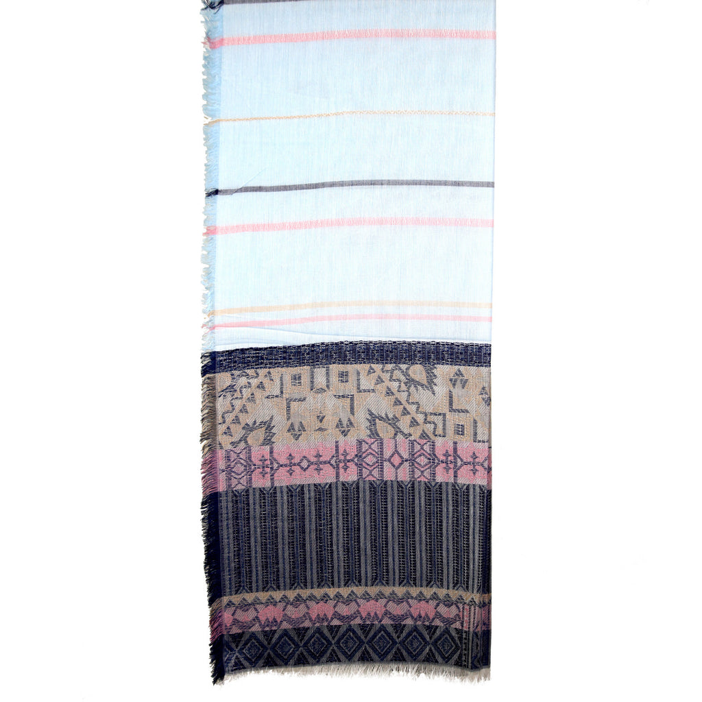 Aztec & Lines Frayed Blue Scarf
