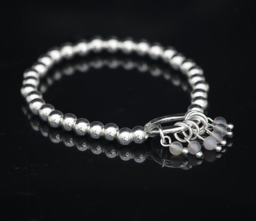 Beaded silver  bracelet with grey agate charms by Sarah Tempest
