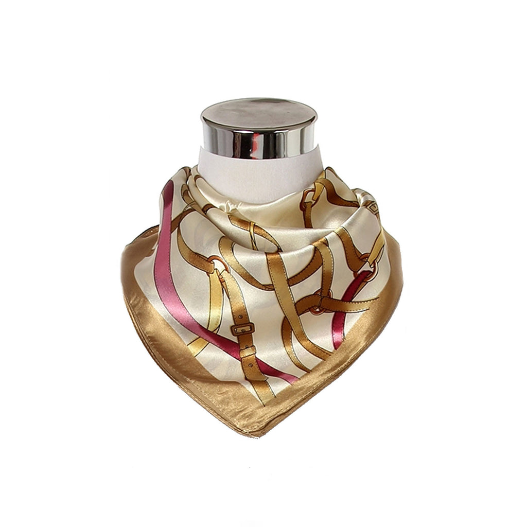 Belt & Buckle Print Square Scarf gold