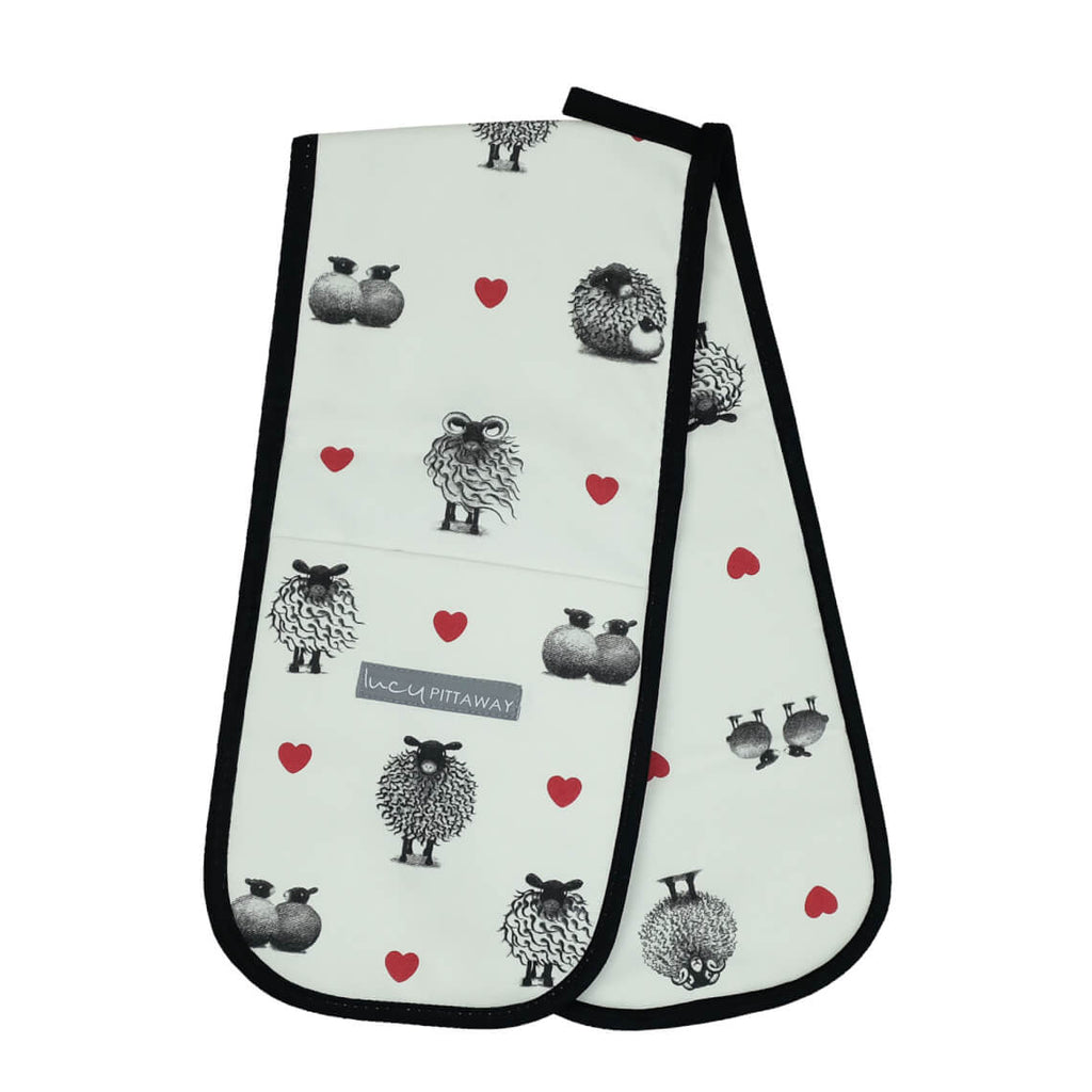 Black and White Sheep Oven Glove by Lucy Pittaway