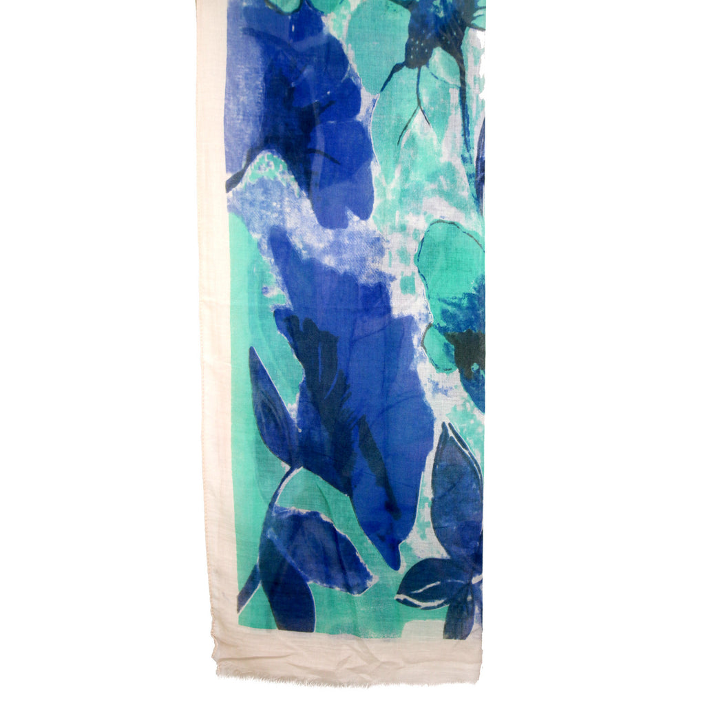 Bold watercolour Flower Print Green & Blue Scarf