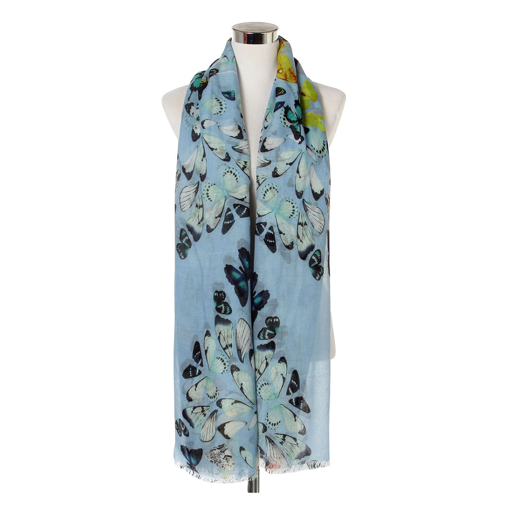 Butterfly Wings Print Frayed Scarf