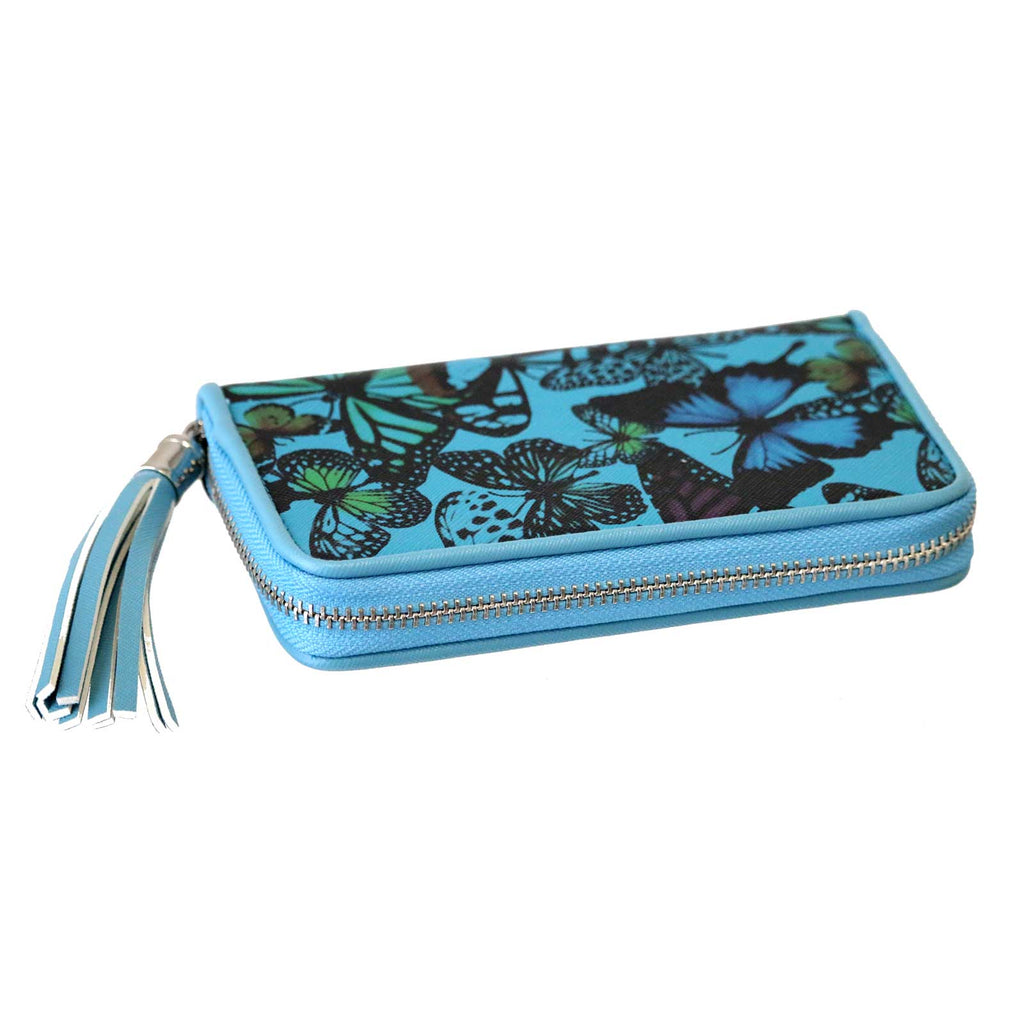Butterfly Tassel Purse Blue