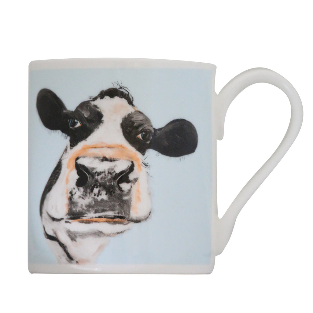 Molly Balmoral Cow Blue Bone China Mug by Caroline Walker