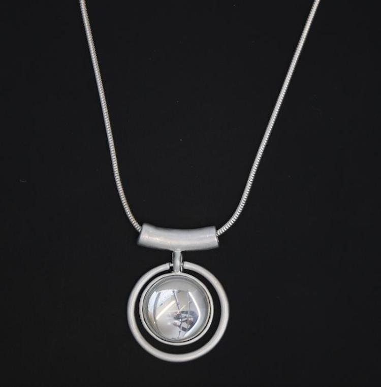 Circle Pendant with Grey Glass Centre on Long Silver Snake Chain