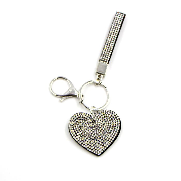 Clear crystal heart and strap keyring by Sarah Tempest