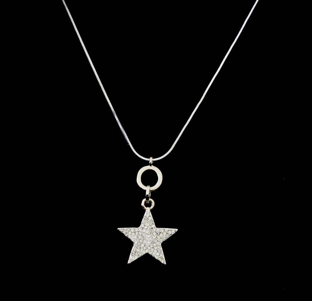 Long snake chain necklace with crystal encrusted star pendant designed by Sarah Tempest.