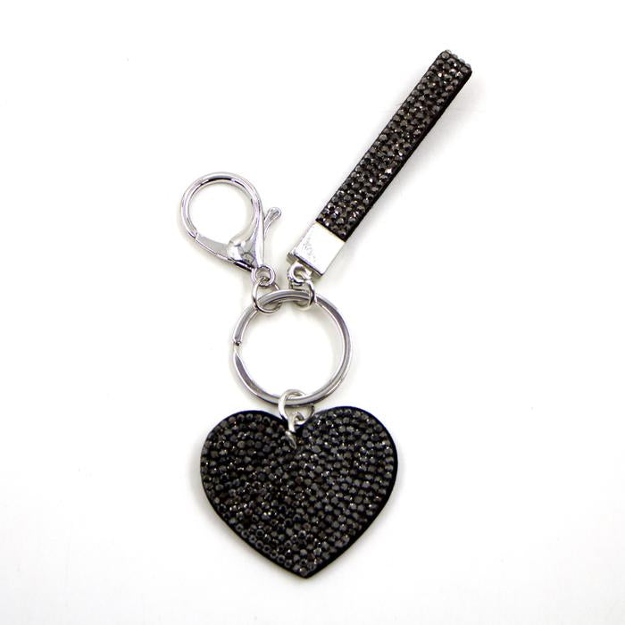 Dark crystal heart and strap keyring by Sarah Tempest