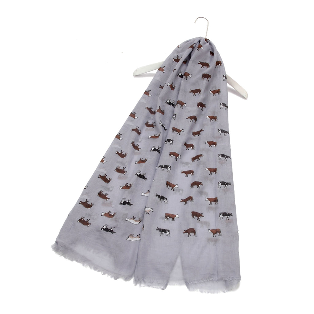 Dairy Farm Cow Animal Print Frayed Scarf Grey
