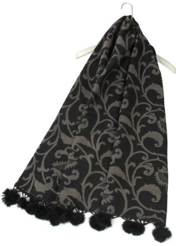 Decorative Floral Grey Pom Pom Scarf
