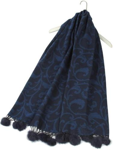 Decorative Floral Navy Blue Pom Pom Scarf