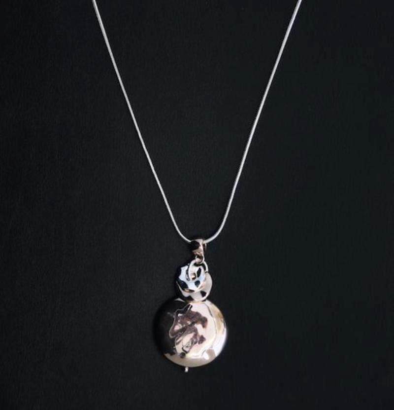 Rose Gold Disc Pendant on Long Silver Snake Chain Necklace by Sarah Tempest