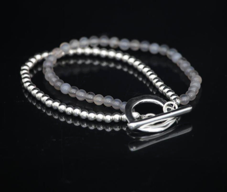 Double strand bracelet with grey agate beads by Sarah Tempest