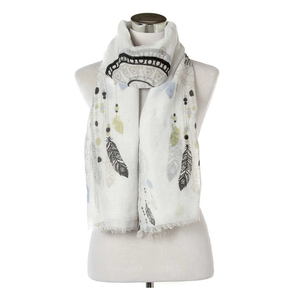 Dream Catcher Frayed Print Scarf Olive Green