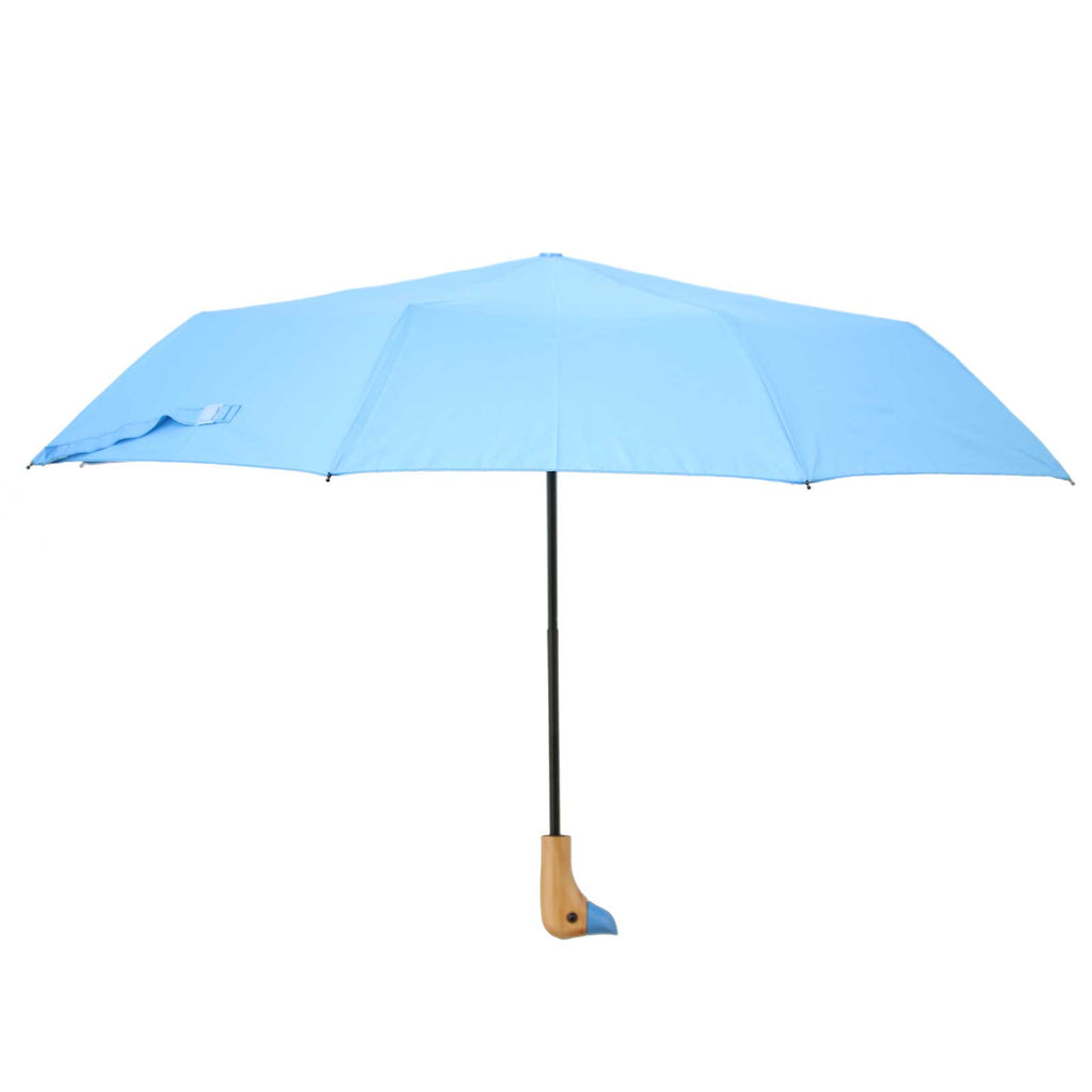 Turquoise Blue Wooden Duck Head Handle Umbrella