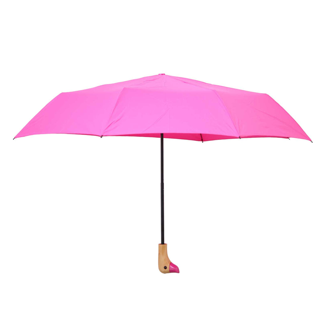 Pink Wooden Duck Head Handle Umbrella