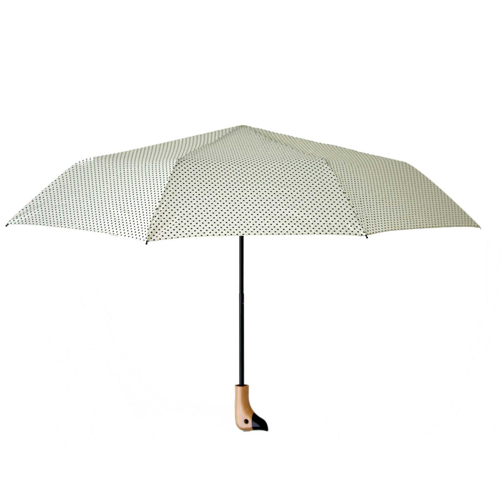 Cream & Black Polka Dot Wooden Duck Head Handle Umbrella
