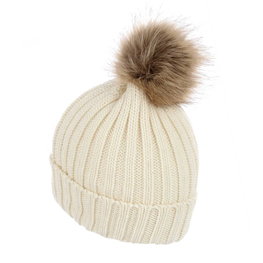 Faux Fur Plain Pom Pom Knitted Beanie Hat Cream