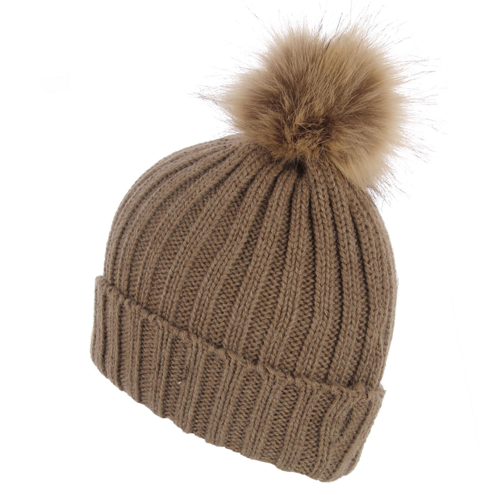 Faux Fur Plain Pom Pom Knitted Beanie Hat Beige