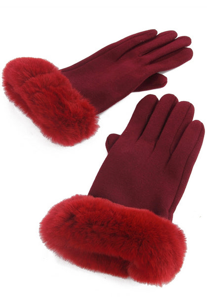 Faux Fur Trim Gloves Burgundy soft touch
