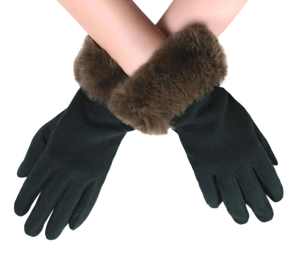 Touch-screen gloves with faux fur trim